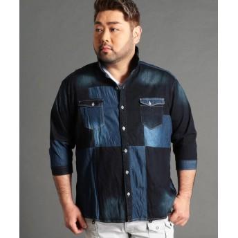 ハイダウェイニコル <大きいサイズ>パッチワークデニムシャツ メンズ 91その他2 54(4L) 【HIDEAWAYS NICOLE】
