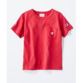 Champion ワンポイントポケット付きクルーネックTシャツ キッズ レッド