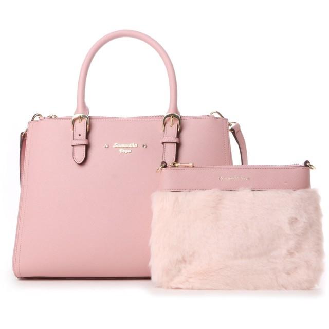 サマンサベガ ファークラッチ付きトートバッグ ピンク