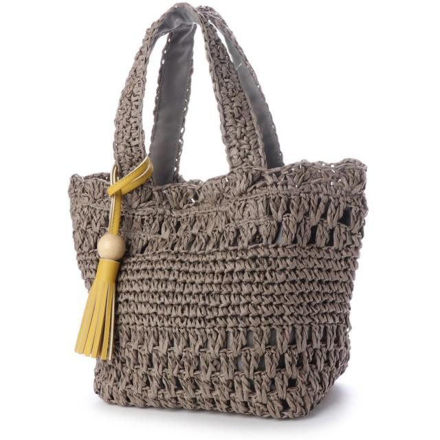 LIMP リム ウッドタッセル付き透かし編みトートバッグ