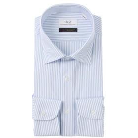 【UNIVERSAL LANGUAGE:トップス】【ジャージー素材】ワイドカラードレスシャツ ストライプ