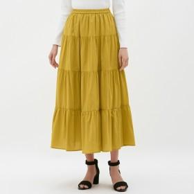 (GU)ティアードフレアロングスカート YELLOW S