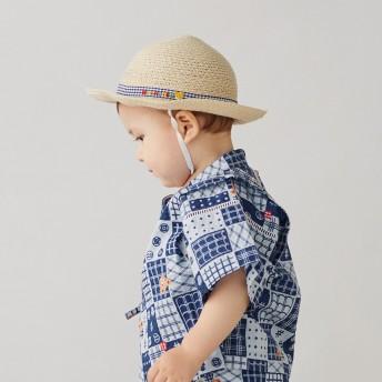 ミキハウス 麦わら風 サマーハット(帽子) 紺