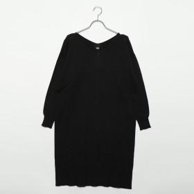 ジーラ バイ リュリュ GeeRa by RyuRyu 綿100%Vネックワンピース (ブラック)