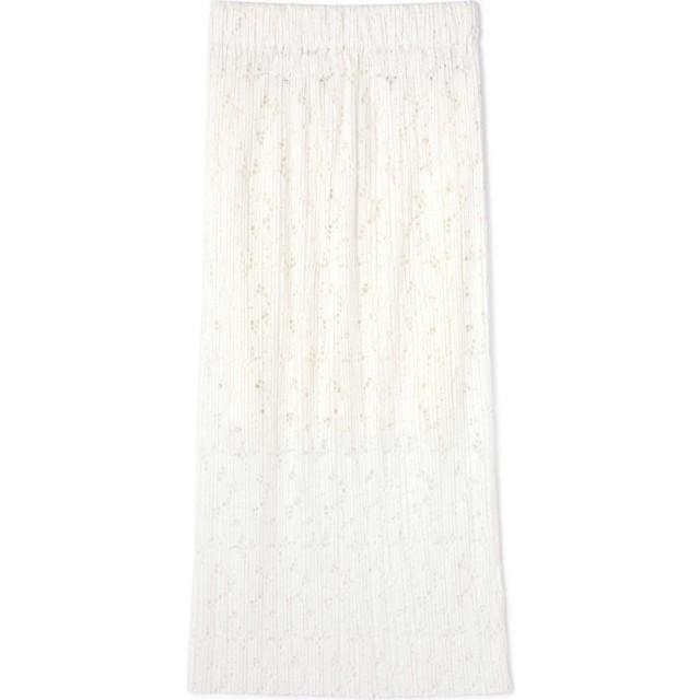 透かし柄プリーツスカート ホワイト1