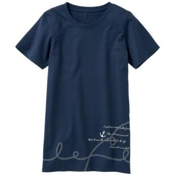 60%OFF【レディース】 プリントロングTシャツ(S-5L・綿100%・半袖) ■カラー:ネイビー ■サイズ:S