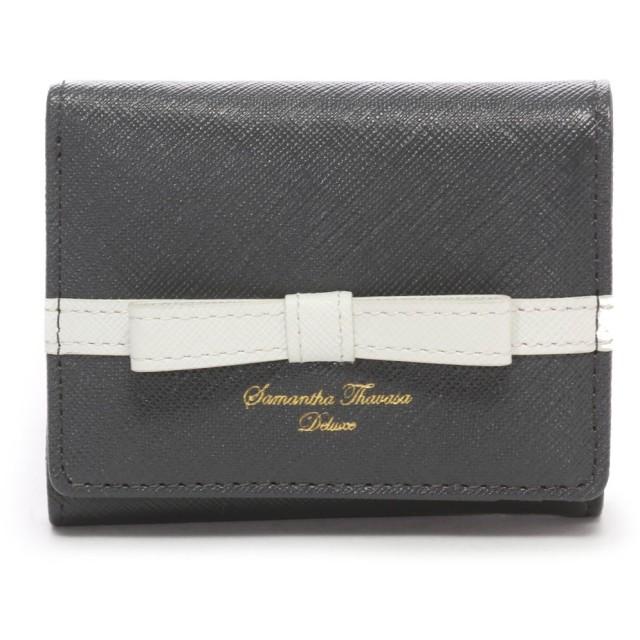 サマンサタバサデラックス ライン入りシンプルリボン小物(三つ折り財布) グレー