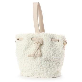 ヴィータフェリーチェ VitaFelice 《数量限定販売》ボアトートバッグ ボア2way巾着ショルダーバッグ (ホワイト)