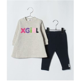 X-girl Stages ラウンドロゴ&キラッキー 裏起毛スーツセット(オートミール)【返品不可商品】