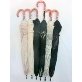 晴雨兼用傘 傘 ファッション小物 レディースファッション 晴雨兼用 長傘 婦人 遮光率99.99% レース 無地 2重張レース バラ柄 スライド式