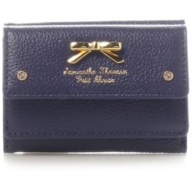 サマンサタバサプチチョイス シンプルリボンプレートシュリンクレザーバージョンミニ財布 ネイビー