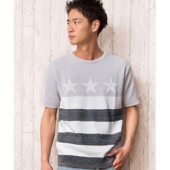 【35%OFF】 シルバーバレット CavariA日本製星条旗柄クルーネック半袖ニットソー メンズ ブラック 46(L) 【SILVER BULLET】 【セール開催中】
