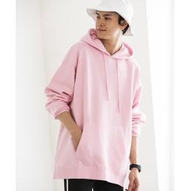 WEGO WEGO/サイドスリットカラー起毛プルパーカー(ライトピンク)【返品不可商品】
