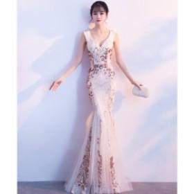 Vネック 優雅 マーメイドラインドレス 着痩せ パーティードレス 人気 フェミニン 成人式 演奏会 発表会 袖なし スパンゴール ファスナー