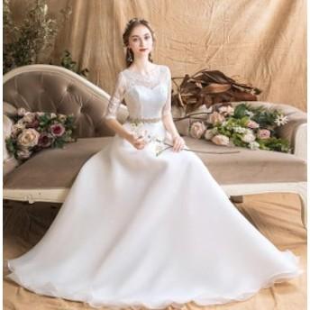 五分袖 着痩せ ウェディングドレス 素敵 お呼ばれドレス 優雅 パーティードレス フォマールドレス フェミニン 結婚式 挙式 編み上げ