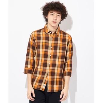 BACK NUMBER フレンチリネン7分袖ピケシャツ メンズ ネイビー*レッド