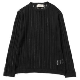 <WOMEN>MAISON FLANEUR / シアー リブクルーネックニット レディース ニット・セーター BLACK 40