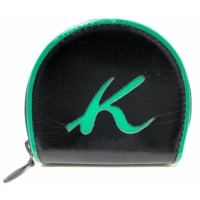 7ee6fad13827 キタムラ KITAMURA コインケース レディース 黒×グリーン×ネイビー レザー【中古】