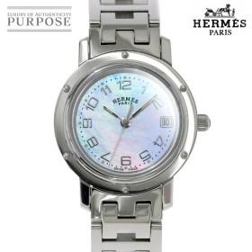 エルメス HERMES クリッパーナクレ CL4 210 レディース 腕時計 デイト ピンクシェル 文字盤 クォーツ ウォッチ