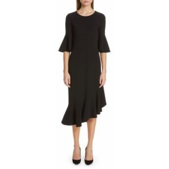 マイケルコース レディース ワンピース トップス Michael Kors Asymmetrical Bell Sleeve Sheath Dress Black