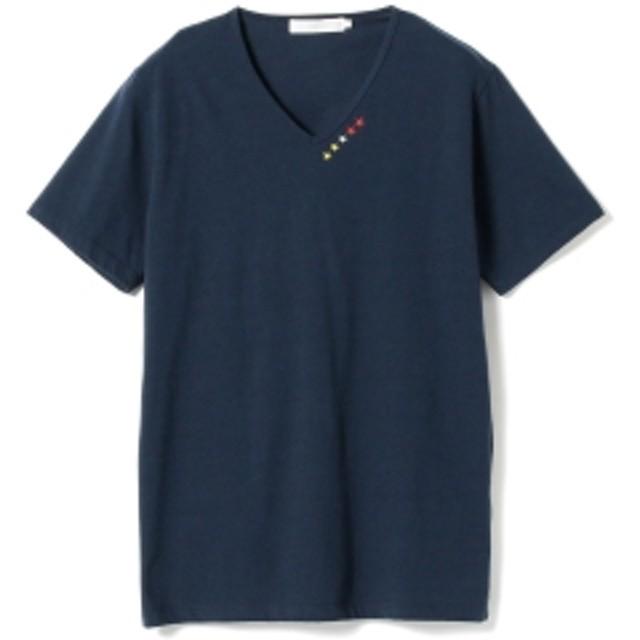 BEAMS LIGHTS / 5スター刺繍 Vネック Tシャツ メンズ Tシャツ NAVY L