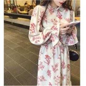 ワンピース ロング丈 大きいサイズ 春 花柄 長袖 ドレス ワンピース ロング フレア お呼ばれ ワンピース 1495