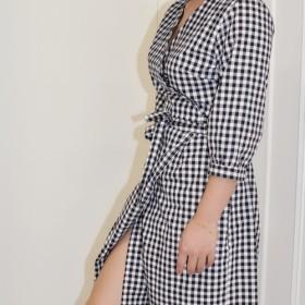 フラット135 X台湾デザイナーシリーズ半袖ドレス格子縞の綿生地ドレスデザイン