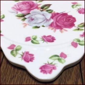 『クリックポスト送料無料!』ピンクローズ/薔薇 綺麗な陶器製 鍋敷き・パンマット 食卓が楽しくなるキッチン雑貨  バラ