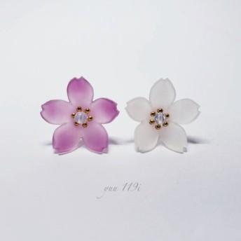 *色変わり桜のピアスイヤリング*