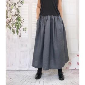 麻 deナチュラル*リネン100% ポケット付きロングスカート グレー受注生産 1154-6