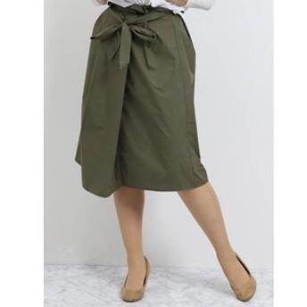 【m.f.editorial:スカート】ハイウエストリボン付フレアースカート