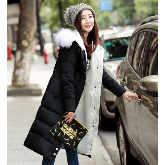 [55555SHOP] 見た目はオシャレ、中身はダウン 大きな毛皮の襟 フード付き ダウンジャケット 棉服 軽量ダウン風コート 中綿コート