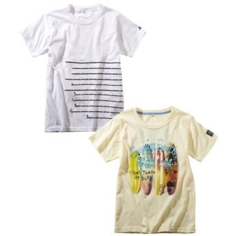 刺しゅう入りプリント半袖Tシャツ2枚組(男の子。女の子 子供服。ジュニア服) Tシャツ・カットソー