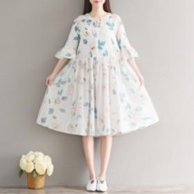 【M~2XL】大きいサイズ 膝丈 パーティー ドレス 花柄 ミディ リゾート ビーチ お出かけ 70451