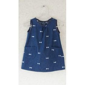 リボン 刺繍のデニムAラインワンピース