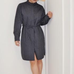 ベルト付きFlat135X台湾デザイナーインク綿ライン布ボタンシャツドレス