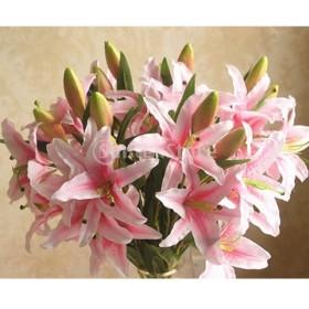 結婚式  造花 花びら 花ヘッド 結婚式 装飾 DIY 人工 ユリ シミュレーション 植物 ピンク