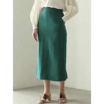 [LAGUNAMOON]ボタンスリットリネンタイトスカート