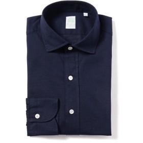 FINAMORE / ネイビージャカード ワイドカラーシャツ メンズ カジュアルシャツ NAVY/3 XS