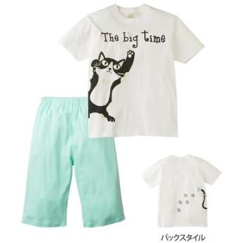 綿100% 光るプリントパジャマ(半袖Tシャツ+ハーフパンツ)(男の子。女の子 子供服) キッズパジャマ