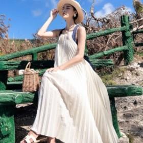 バックコンシャスリゾートワンピース☆ バックリボン プリーツ カジュアル ビーチドレス フェミニン レディース
