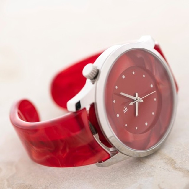 89b396747c 腕時計 鯖江バングルウォッチ ビッグフェイス レッドマーブル 通販 LINE ...