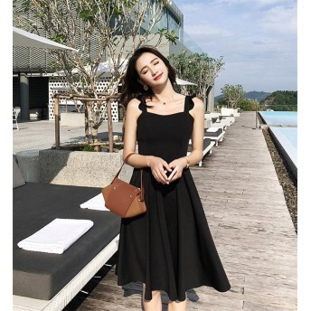 [55555SHOP] 2018新柄追加 韓国ファッション 大きい裾 キャミ・ベアワンビス