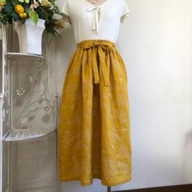 ミモザ色ダブルガーゼ刺繍スカート