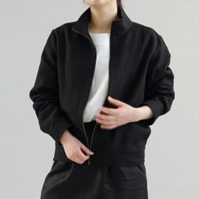 【wafu】中厚 二重 リネン 100% スイングトップ 裏地 ジャケット 男女兼用 / ブラック h045a-bck2