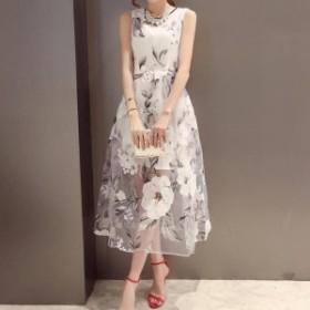 韓国ワンピース 結婚式 ドレス 40代 50代 30代 20代 10代 清楚 花柄 ミモレ丈 オーガンジー