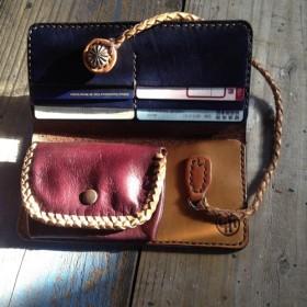 c5e141d19225 長財布 ロングウォレット 一点物 革財布 手縫い ハンドクラフト レザークラフト 革小物 新品