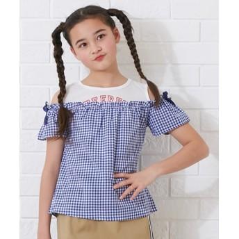 ギンガムチェック重ね着風Tシャツ(女の子 子供服。ジュニア服) Tシャツ・カットソー