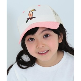 BEAMS mini / モロッコアニマルキャップ キッズ キャップ OFF WHT×PINK ONE SIZE