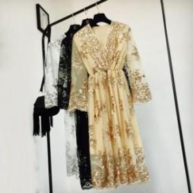 ベルスリーブ スパンコール刺繍 透け感レースステッチVネックドレス 2色 シースルー 透け感 エレガント  お呼ばれ